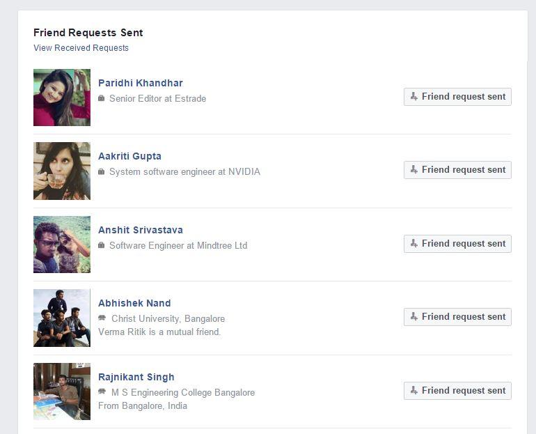 sent friend requests facebook