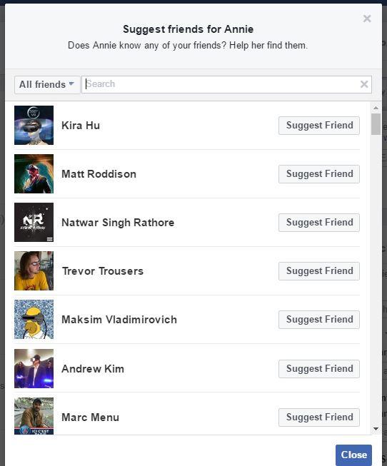 suggest friend to annie facebook